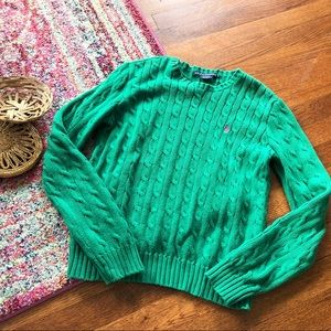 Ralph Lauren Kelly green cable knit sweater